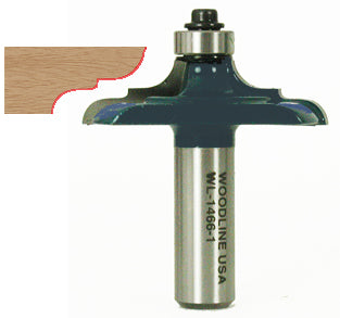 "Table Edge Router Bit WL-1466-1 Elongated Cove & Bead, 2"" Dia, 1/2"" Cut Length, 3/4"" Reveal, 1/2"" Shank Woodline USA"