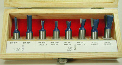 "WL-1710  8pc Dovetail Set 1/2"" Shank Woodline USA"