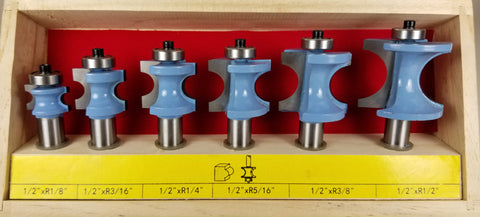 "WL-2013 Six Piece Bullnose Router Bit Set 1/2"" Shank"