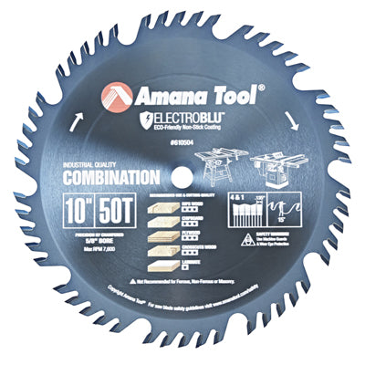 AMANA 610504C Electro-Blu™  Carbide Tipped Combination Ripping & Crosscut 10″ Dia, 50T 4+1, 15°, 5/8″ Bore