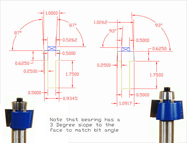 Maloof chair 3° joint router bit