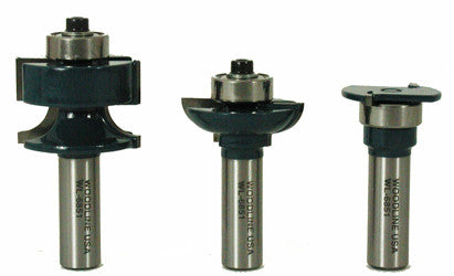 "Glass panel door router bit set WL-6851 Roundover Profile, 1-1/2"" Dia, 3/8"" Radius Profile, 1/2"" Shank Woodline USA"