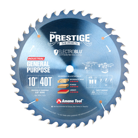 Amana PR1040C Electro-Blu™ Carbide Tipped Prestige General Purpose 10″ Dia, 40T ATB, 18°, 5/8″ Bore