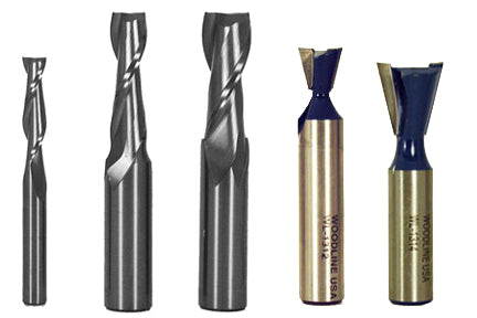 "SFSSTD  - 1/4"" (on 1/4"" shank) , 3/8"" and 1/2"" solid carbide up spirals, 14° x 1/2"" dovetail bit, 14° x 3/4"" dovetail bit"