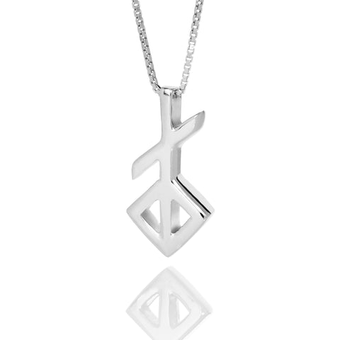 Alrun - Silver Bindrune - Necklace - Youth - Idontspeakicelandic