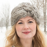 Rabbit Fur - Knit Hat- Gray