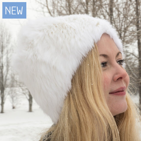 Rabbit Fur - Knit Hat - White