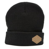 Beanie - Leather Patch - Mountains - Black - Idontspeakicelandic
