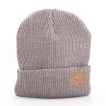 Beanie - Leather Patch - Iceland Mountains - Gray