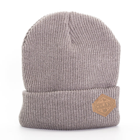 Beanie - Leather Patch - Iceland Mountains - Gray - Idontspeakicelandic