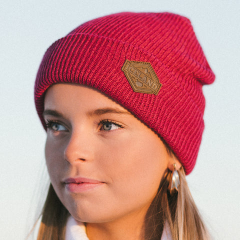 Beanie - Leather Patch - Iceland Mountains - Maroon