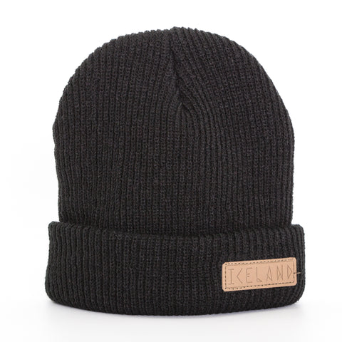 Beanie - Leather Patch - Iceland Runeletter - Black