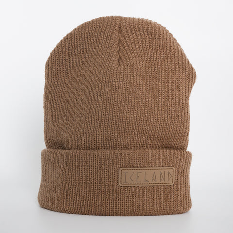 Beanie - Leather Patch - Iceland Runeletter - Brown