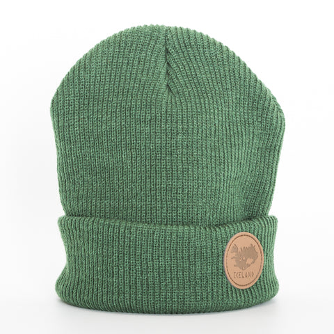 Beanie - Leather Patch - Iceland - Green