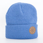 Beanie - Leather Patch - Rune - Blue - Idontspeakicelandic