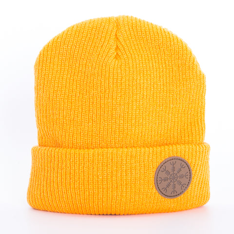Beanie - Leather Patch - Rune - Orange