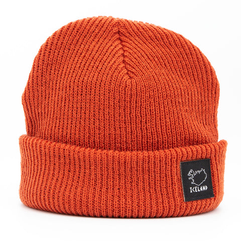 Beanie - City - Iceland Patch - Rust Orange - Idontspeakicelandic