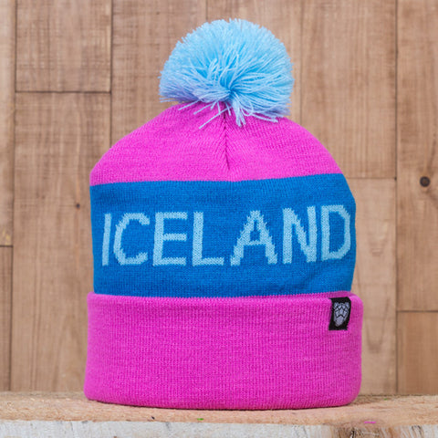 Iceland Beanie with Pom - Pink/Teal - Idontspeakicelandic