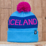 Iceland Beanie with Pom - Teal/Pink