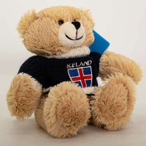 Polar Bear - Blue Sweater with flag - Plush Toys