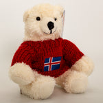 Polar Bear - Red Sweater with flag - Plush Toys