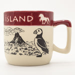 Horses, Volcano and Puffin - Ceramic Mug - Beige/Red