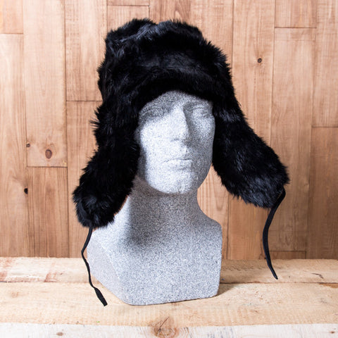 Russian Rabbit Fur Hat - Black - Idontspeakicelandic