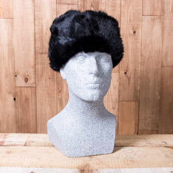 Russian Rabbit Fur Hat - Black