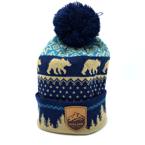 Grizzly Beanie - Mont Iceland Leather Patch