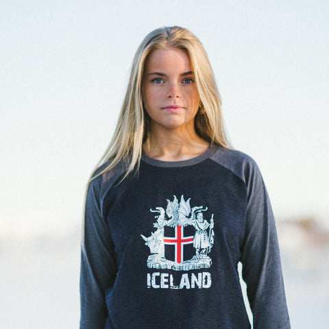 Iceland Coat of Arms - Baseball t-shirt - Gray - Idontspeakicelandic