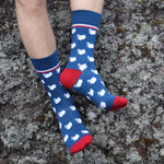 Socks - Iceland Map - Blue/Red - New