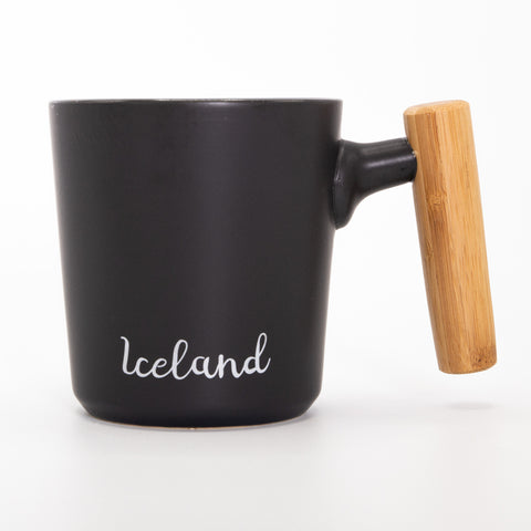 Bamboo Wood Handle  - Ceramic Mug - Black