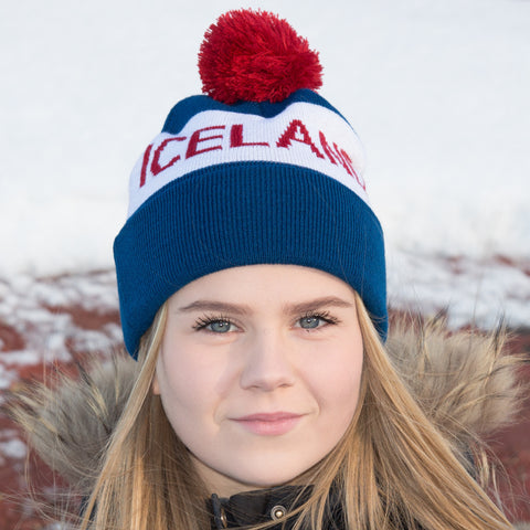 Iceland Beanie with Pom - Navy/White