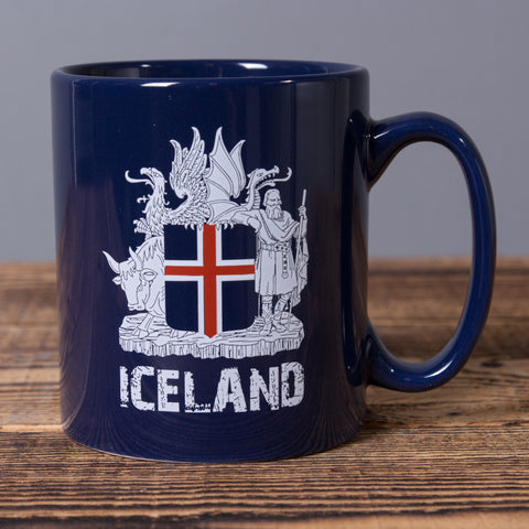 Iceland Coat of Arms - Ceramic Mug - Blue