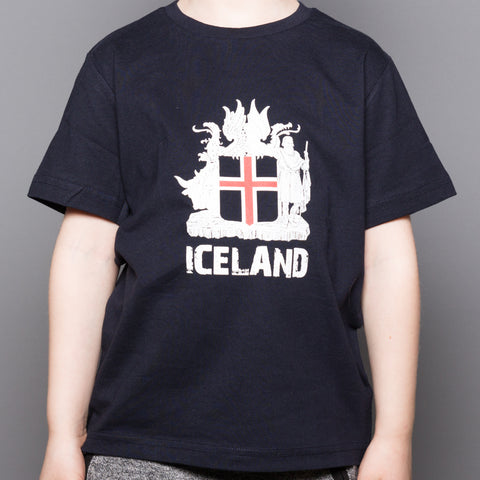 Icelandic Coat of Arms - Kid's T-Shirt - Navy Blue