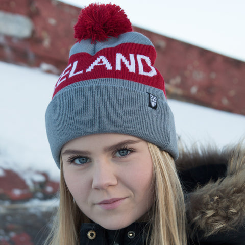 Iceland Beanie with Pom - Gray/Maroon