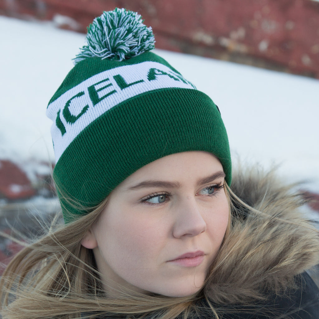 Iceland Beanie with Pom - Green White – Idontspeakicelandic ca192b8cd
