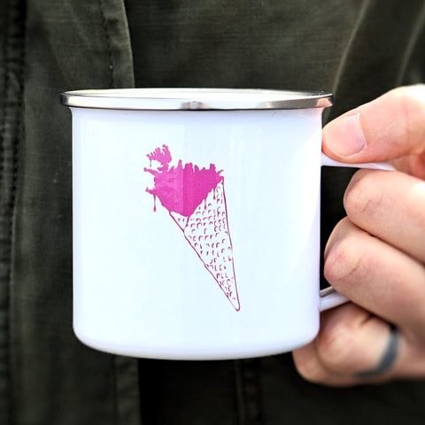 Iceland in a cone - White Camping Mug
