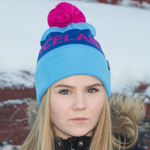 Iceland Beanie with Pom - Teal/Pink - Idontspeakicelandic