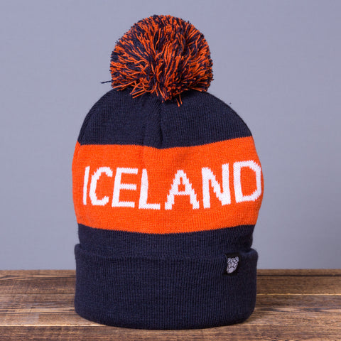 Iceland Beanie with Pom - Navy Blue/Orange - Idontspeakicelandic