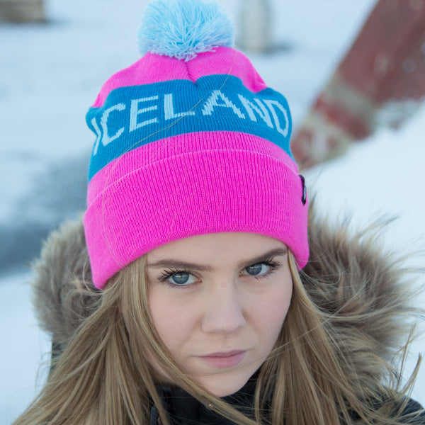 Iceland Beanie with Pom - Pink/Teal