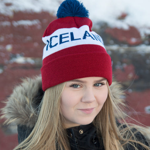 Iceland Beanie with Pom - Red/White