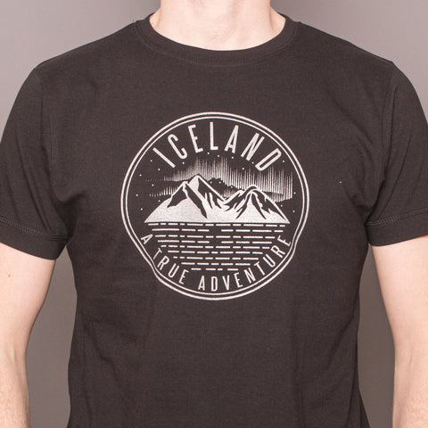 Iceland, a true Adventure - T-Shirt - Black/Silver Print