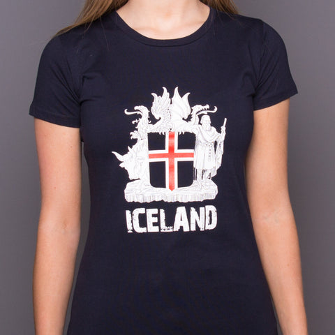 Icelandic Coat of Arms - Womens T-Shirt - Navy Blue - Idontspeakicelandic