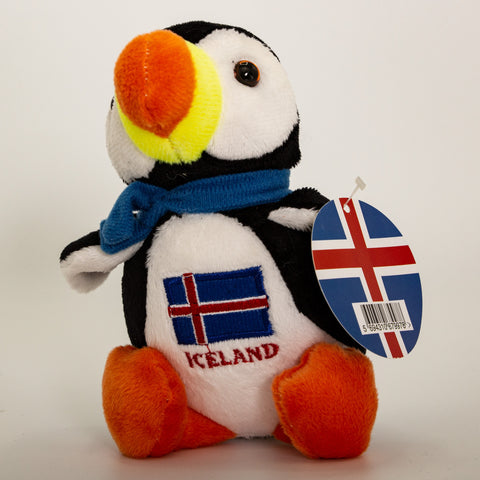 Puffin Iceland Flag and blue scarf- Medium - Plush Toys