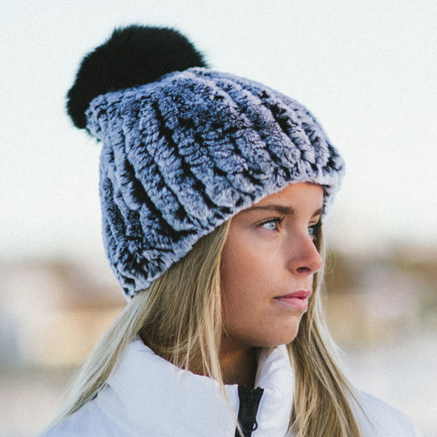 Rabbit with Fox Pompom- Knit Hat - Gray