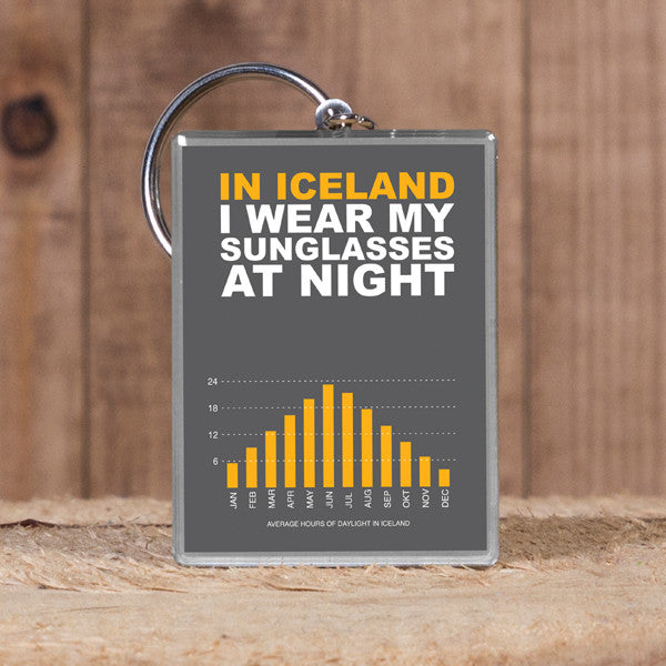 In Iceland i Wear My Sunglasses at Night - Keyring