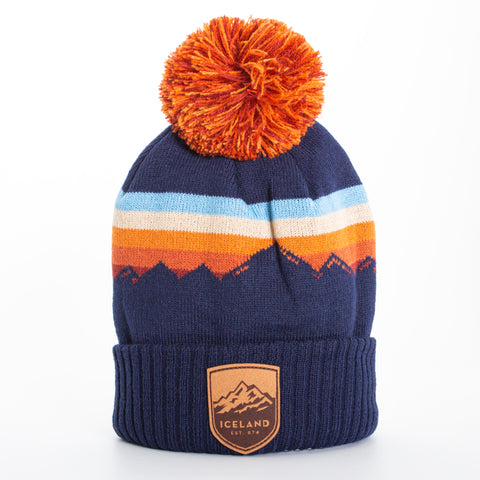 Local - Alpenglow Beanie - Mont Iceland Leather Patch - Navy