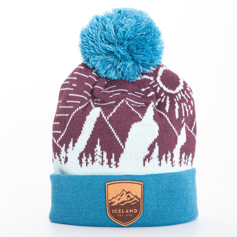 Local - Sunny Peaks Beanie - Mont Iceland Leather Patch - Maroon