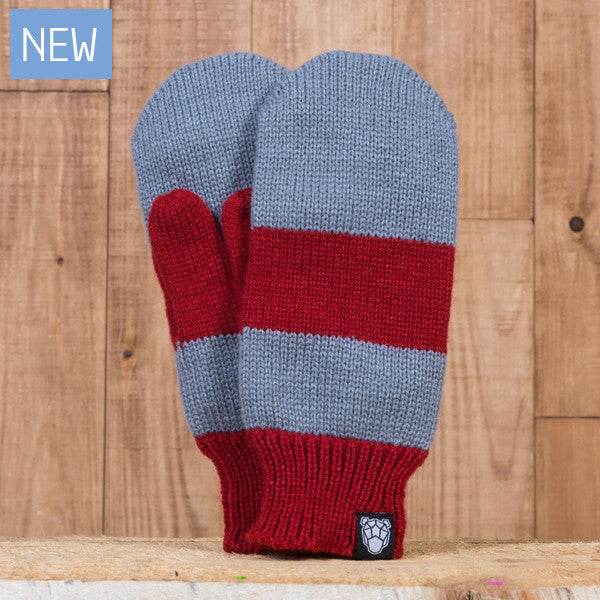 Iceland Mittens - Gray/Maroon